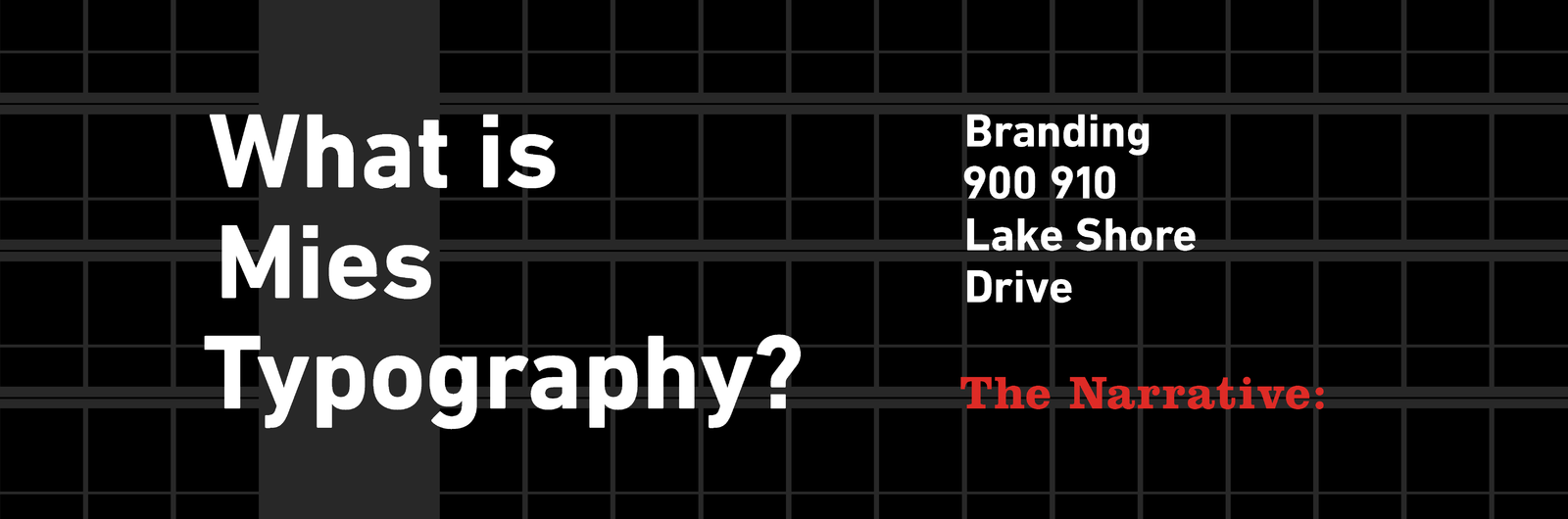 The Search for Mies Typography: Branding 900 910 Lake Shore Drive